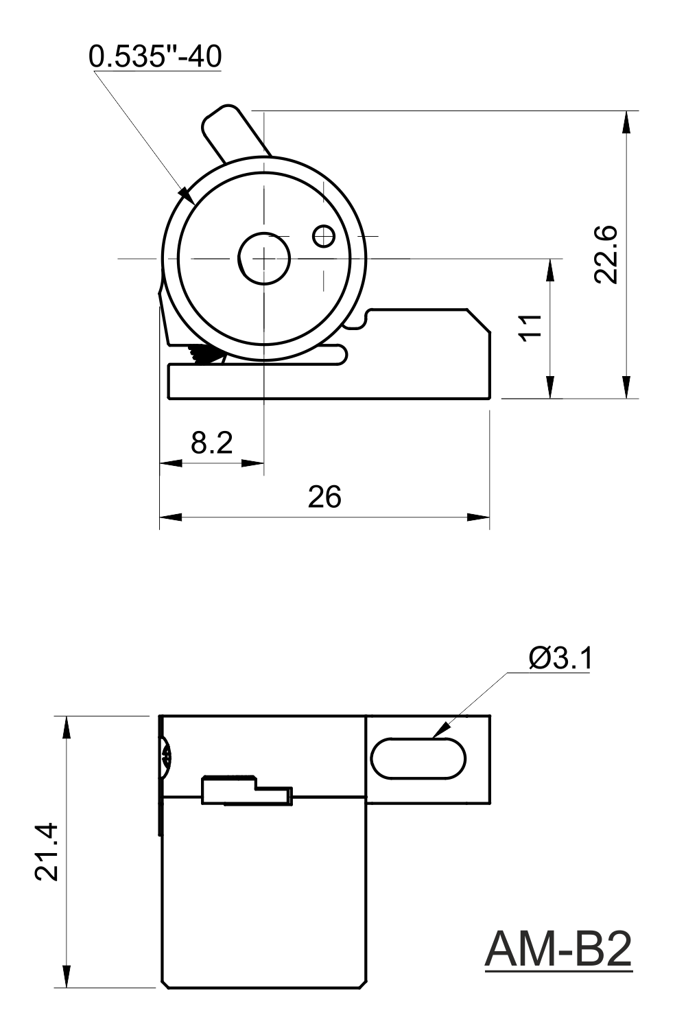 Drawing of Manual Beam Shutter with SM05 Thread