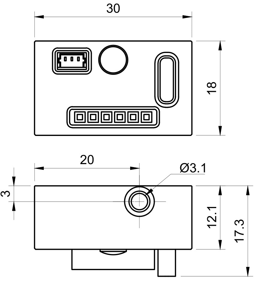 Drawing of RS232 Break-out-Box for Single-Wavelength MatchBox®