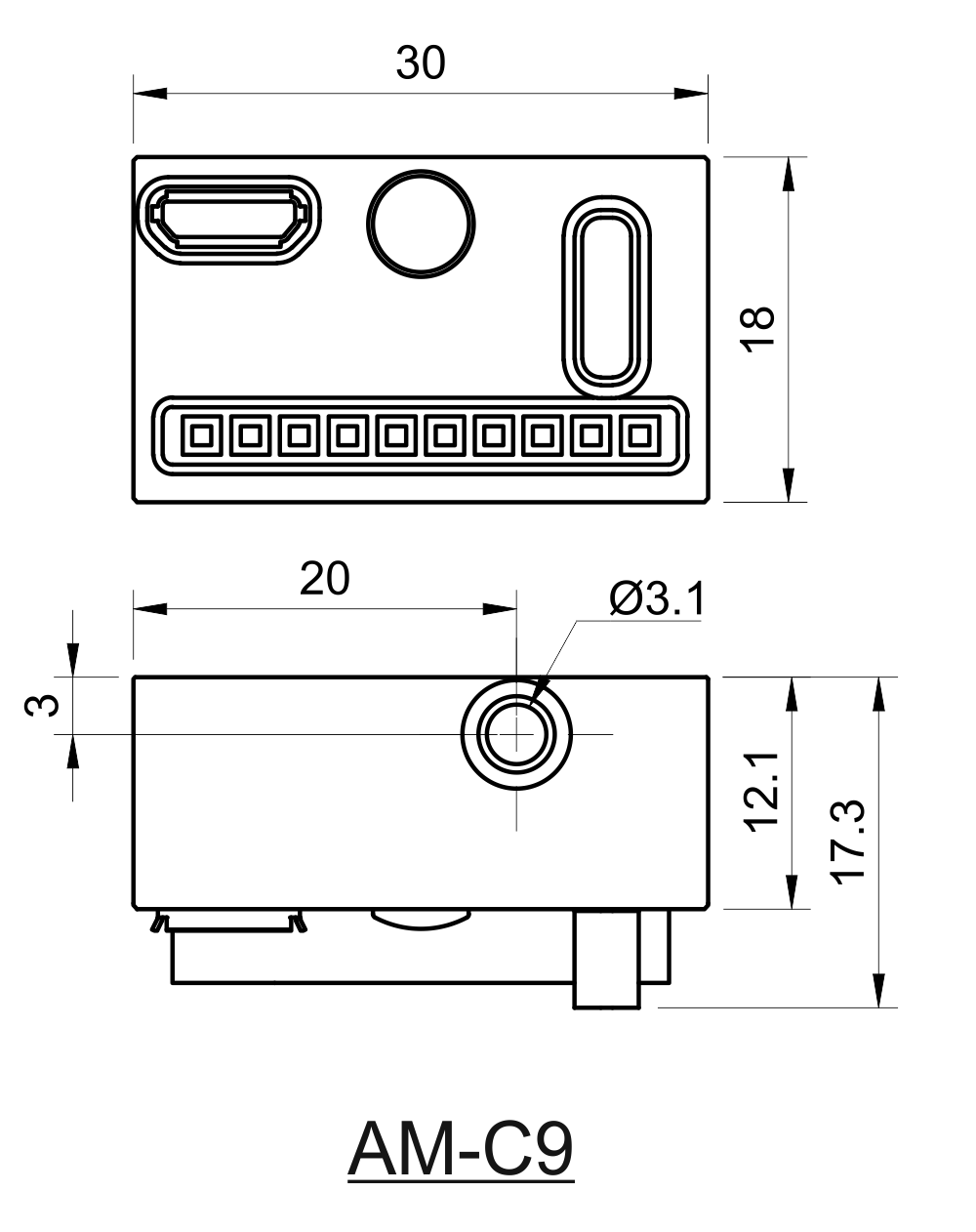 Drawing of USB Break-out-Box for Multi-Wavelength MatchBoxⓇ