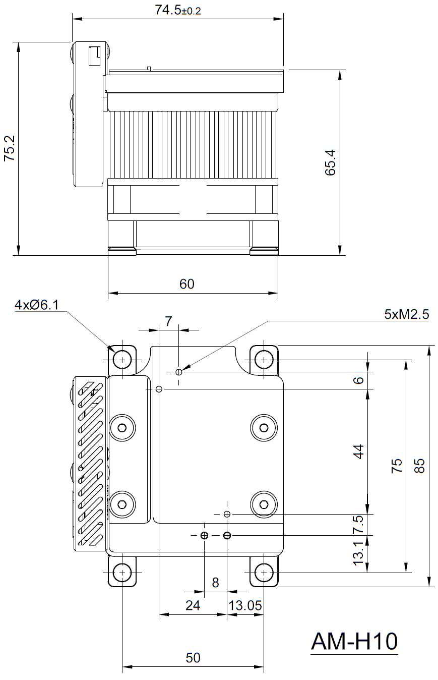 Drawing of Stand-alone Air Cooled Heatsink With TEC