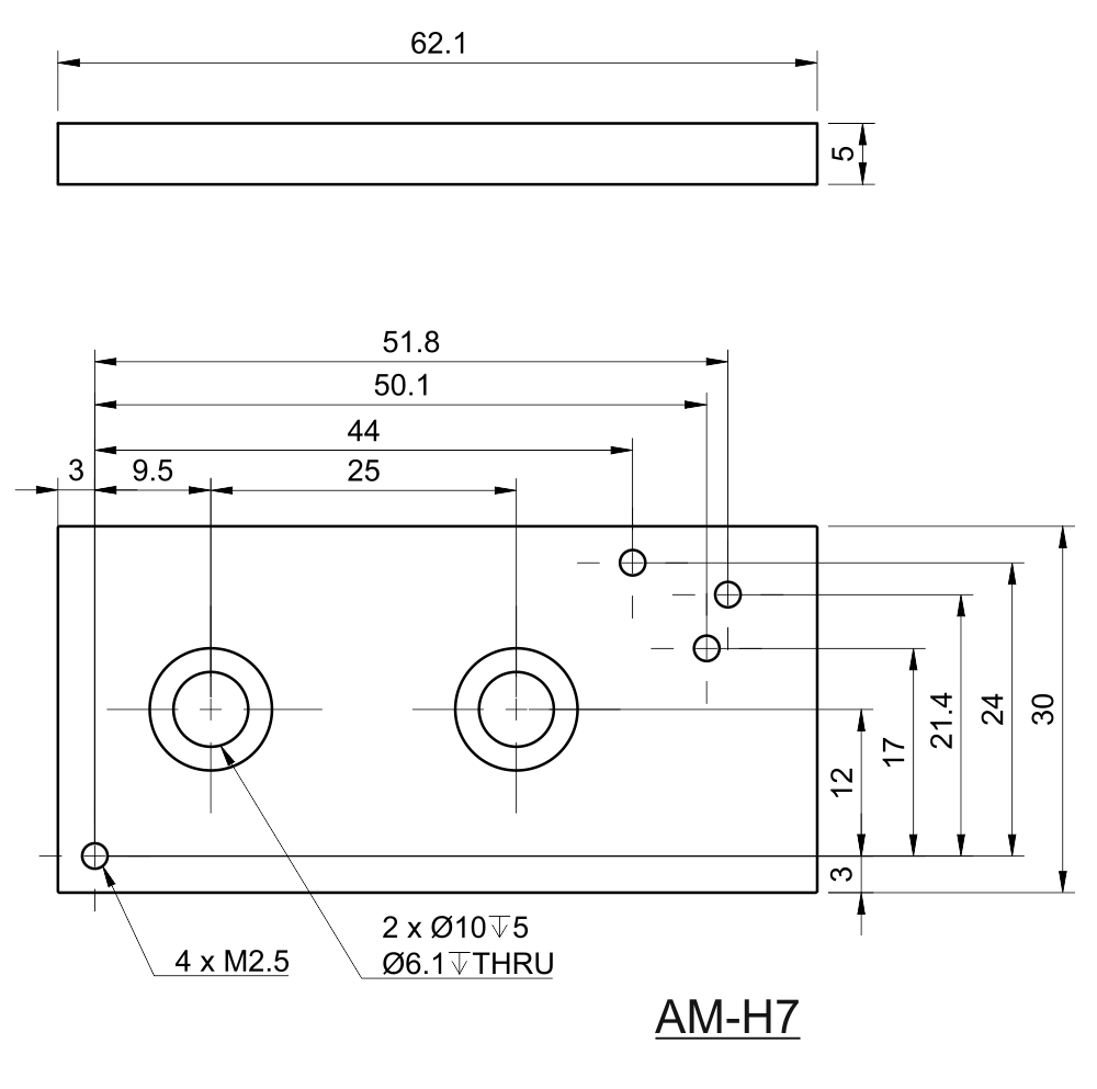 Drawing of M6 Optical Breadboard Adapter for MatchBox®