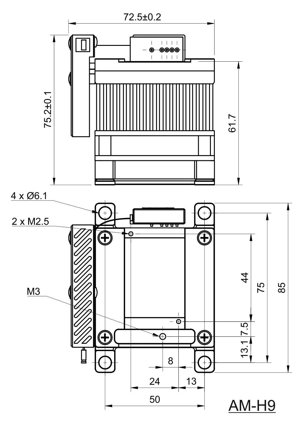 Drawing of Air Cooled Heatsink With TEC