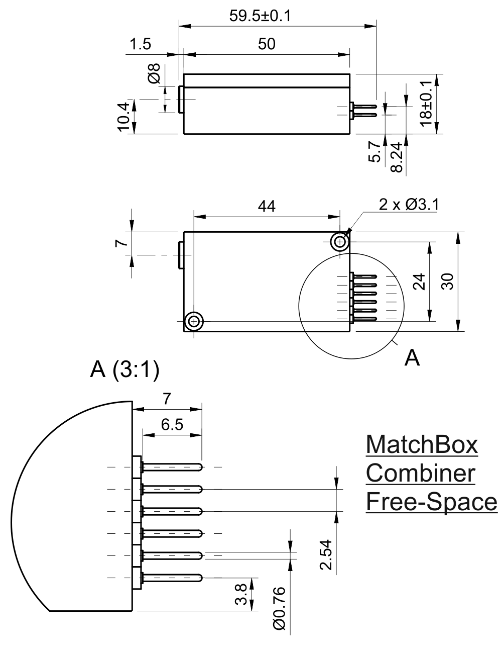 Drawing of Diode Laser Combiner; Free-space (405 nm, 488 nm, 520 nm, 638 nm)