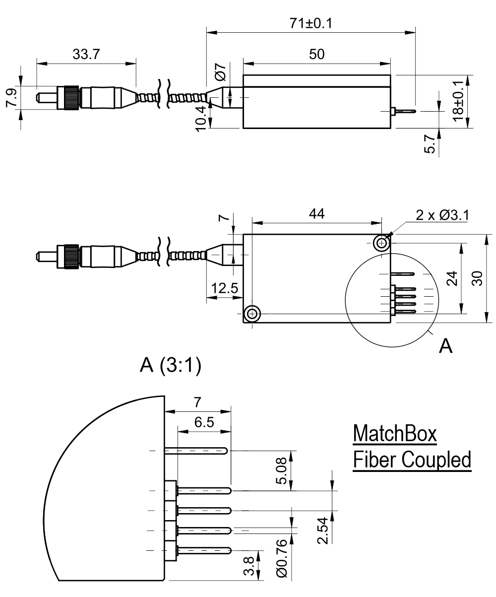 Drawing of 850 nm Laser (Diode; MM Fiber)