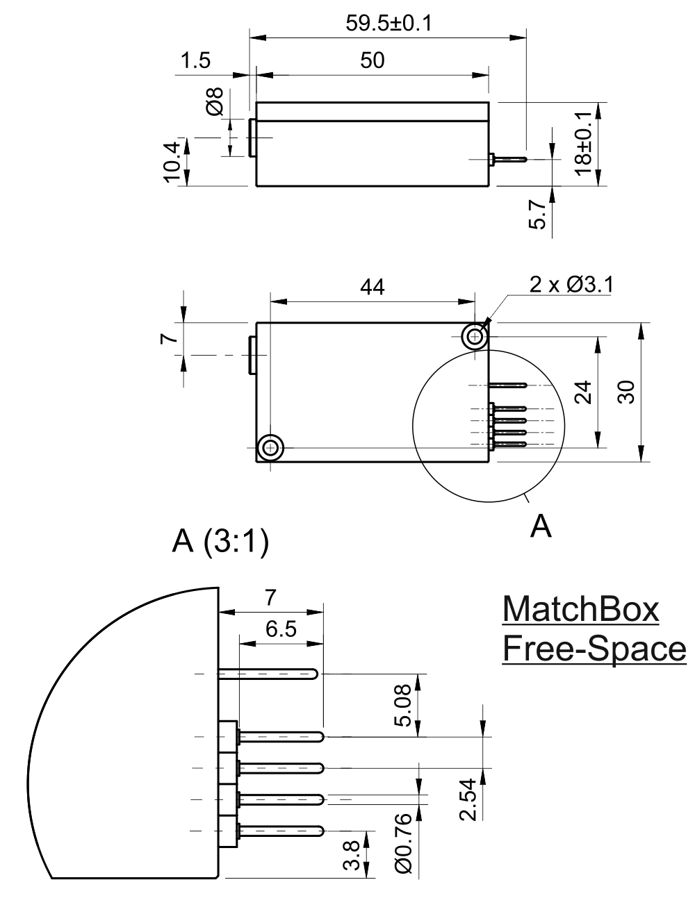 Drawing of 1064 nm SLM Laser (DPSS; Free-space)